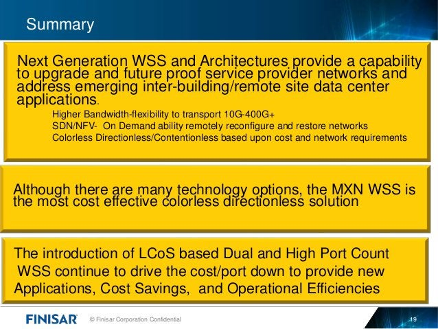 © Finisar Corporation Confidential 19 Summary Next Generation WSS and Architectures provide a capability to upgrade and fu...