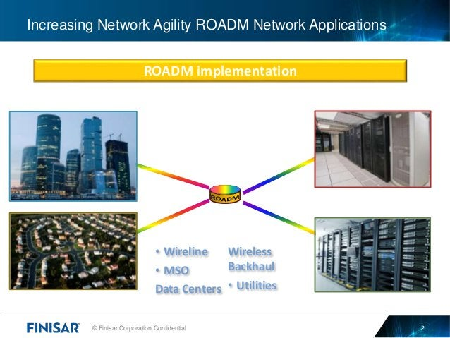 © Finisar Corporation Confidential 2 Increasing Network Agility ROADM Network Applications ROADM implementation • Wireline...