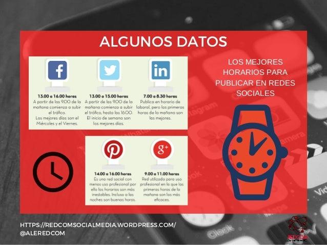 ALGUNOS DATOS HTTPS://REDCOMSOCIALMEDIA.WORDPRESS.COM/ @ALEREDCOM LOSMEJORES HORARIOSPARA PUBLICARENREDES SOCIALES