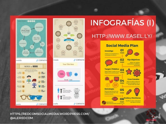 INFOGRAFÍAS (I) HTTPS://REDCOMSOCIALMEDIA.WORDPRESS.COM/ @ALEREDCOM HTTP://WWW.EASEL.LY/