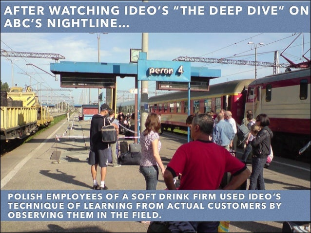 "AFTER WATCHING IDEO'S ""THE DEEP DIVE"" ON ABC'S NIGHTLINE… POLISH EMPLOYEES OF A SOFT DRINK FIRM USED IDEO'S TECHNIQUE OF L..."