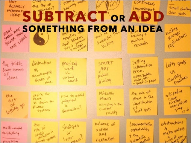 SUBTRACT OR ADD SOMETHING FROM AN IDEA