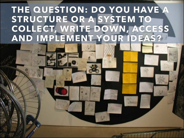 THE QUESTION: DO YOU HAVE A STRUCTURE OR A SYSTEM TO COLLECT, WRITE DOWN, ACCESS AND IMPLEMENT YOUR IDEAS?