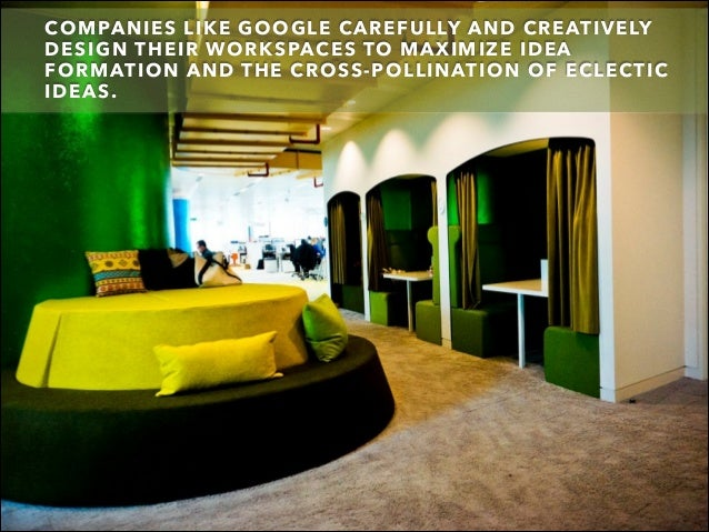 COMPANIES LIKE GOOGLE CAREFULLY AND CREATIVELY DESIGN THEIR WORKSPACES TO MAXIMIZE IDEA FORMATION AND THE CROSS-POLLINATIO...