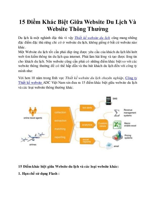 15 Điểm Khác Biệt Giữa Website Du Lịch Và Website Thông Thường Du lịch là một nghành đặc thù vì vậy Thiết kế website du lị...
