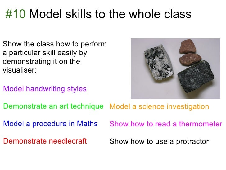 #10 Model skills to the whole classShow the class how to performa particular skill easily bydemonstrating it on thevisuali...