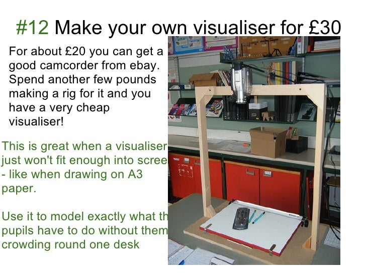 #12 Make your own visualiser for £30 For about £20 you can get a good camcorder from ebay. Spend another few pounds making...
