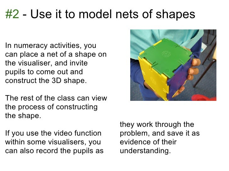 #2 - Use it to model nets of shapesIn numeracy activities, youcan place a net of a shape onthe visualiser, and invitepupil...