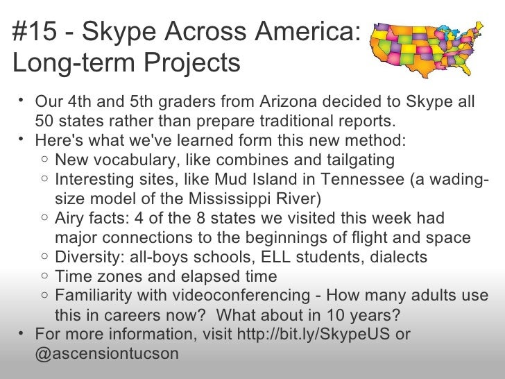 #15 - Skype Across America:Long-term Projects• Our 4th and 5th graders from Arizona decided to Skype all  50 states rather...