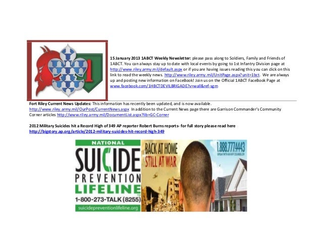 15 January 2013 1ABCT Weekly Newsletter: please pass along to Soldiers, Family and Friends of                             ...