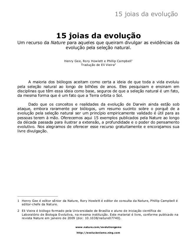 15 joias da evolução  15 joias da evolução  Um recurso da Nature para aqueles que queiram divulgar as evidências da  evolu...