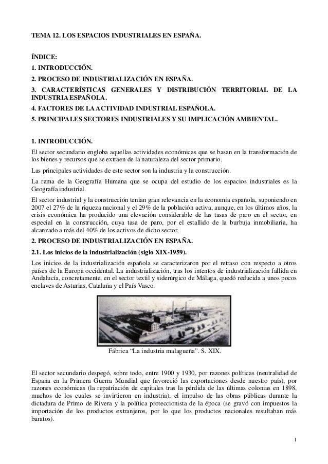 1 TEMA 12. LOS ESPACIOS INDUSTRIALES EN ESPAÑA. ÍNDICE: 1. INTRODUCCIÓN. 2. PROCESO DE INDUSTRIALIZACIÓN EN ESPAÑA. 3. CAR...