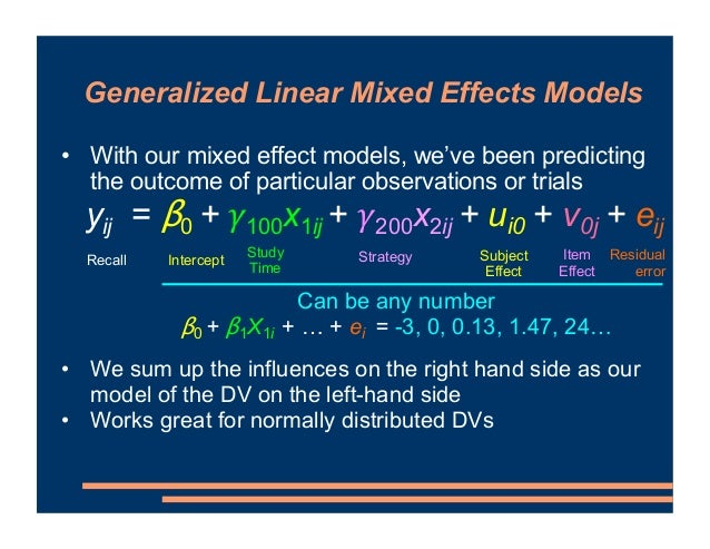 • With our mixed effect models, we've been predicting the outcome of particular observations or trials • Problem here when...