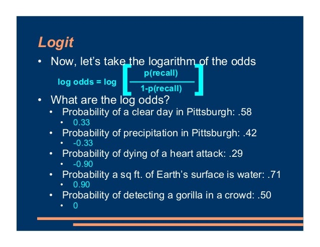 Logit • Probabilities equidistant from .50 have the same absolute value on the log odds Probability of precipitation in Pi...