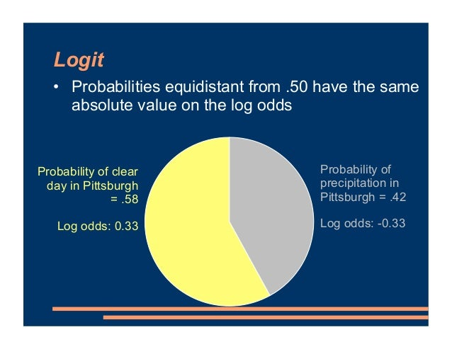 Logit • Probabilities equidistant from .50 have the same absolute value on the log odds • Magnitude reflects degree to whi...