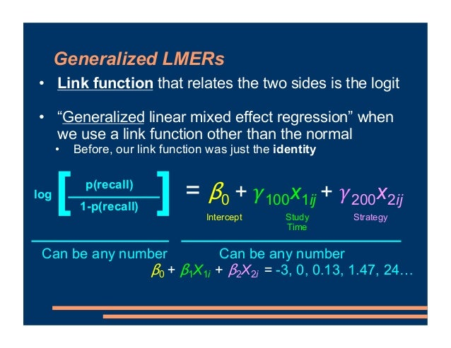 Week 9.1: Logit Models ! Introduction to Generalized LMER ! Categorical Outcomes ! Probabilities and Odds ! Logit ! Link F...