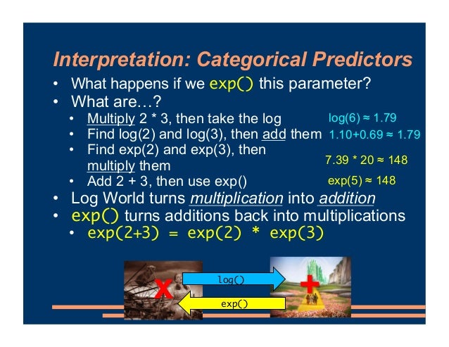 Interpretation: Categorical Predictors • Let's use exp() to turn our effect on log odds back into an effect on the odds • ...