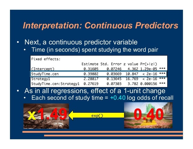 Interpretation: Continuous Predictors • Next, a continuous predictor variable • Time (in seconds) spent studying the word ...