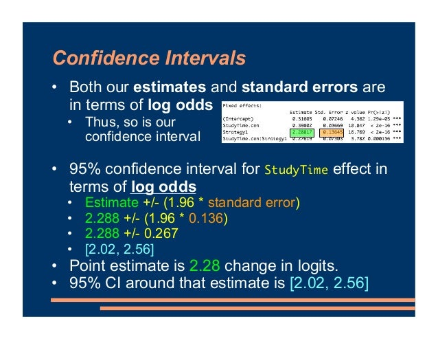 Confidence Intervals • Both our estimates and standard errors are in terms of log odds • Thus, so is our confidence interv...