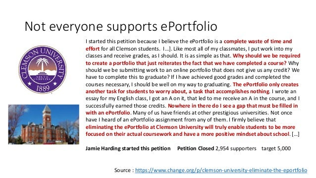 One Case Study • Example of one instruction given to students • At the end of year three you must submit your portfolio fo...