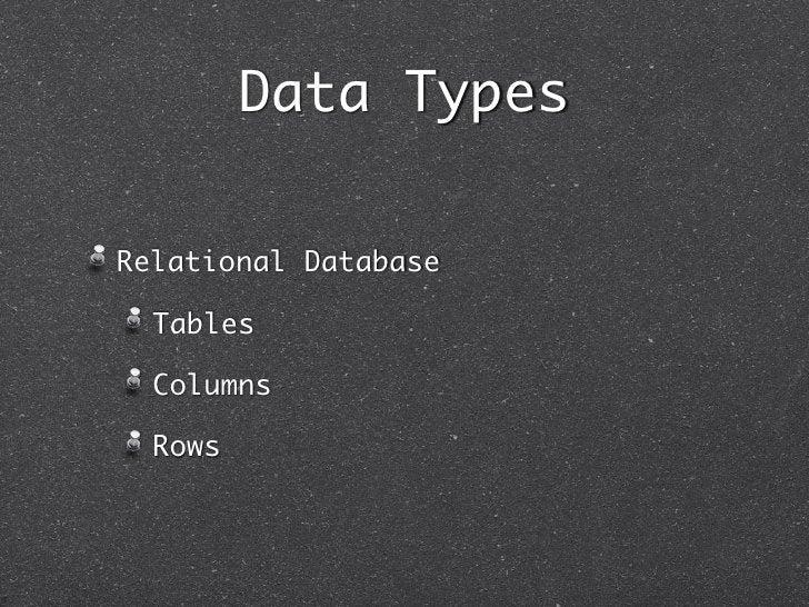 Data TypesRelational Database  Tables  Columns  Rows