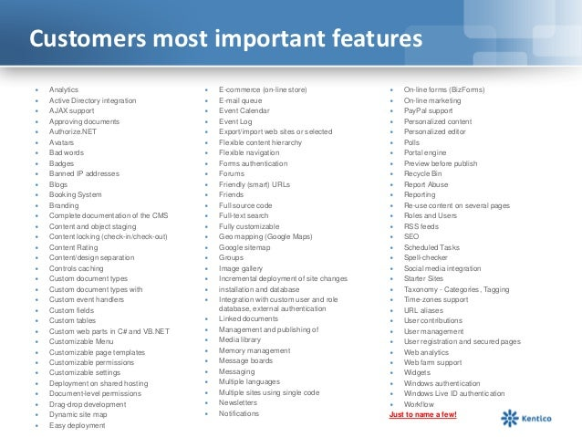 Customers most important features∙   Analytics                              ∙   E-commerce (on-line store)               ∙...