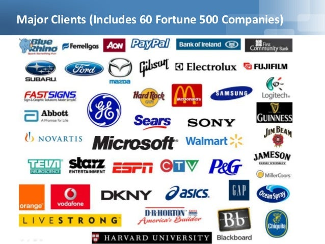 Major Clients (Includes 60 Fortune 500 Companies)