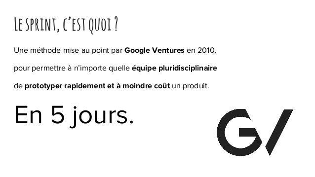 Lesprint,c'estquoi? Une méthode mise au point par Google Ventures en 2010, pour permettre à n'importe quelle équipe plurid...