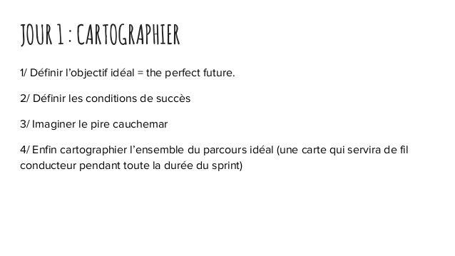 JOUR1:CARTOGRAPHIER 1/ Définir l'objectif idéal = the perfect future. 2/ Définir les conditions de succès 3/ Imaginer le p...