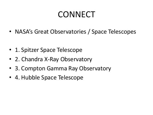 CONNECT • NASA's Great Observatories / Space Telescopes • 1. Spitzer Space Telescope • 2. Chandra X-Ray Observatory • 3. C...