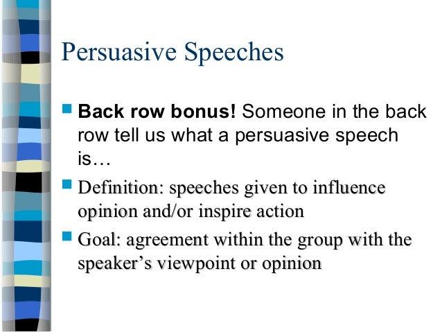 value persuasive speech definition