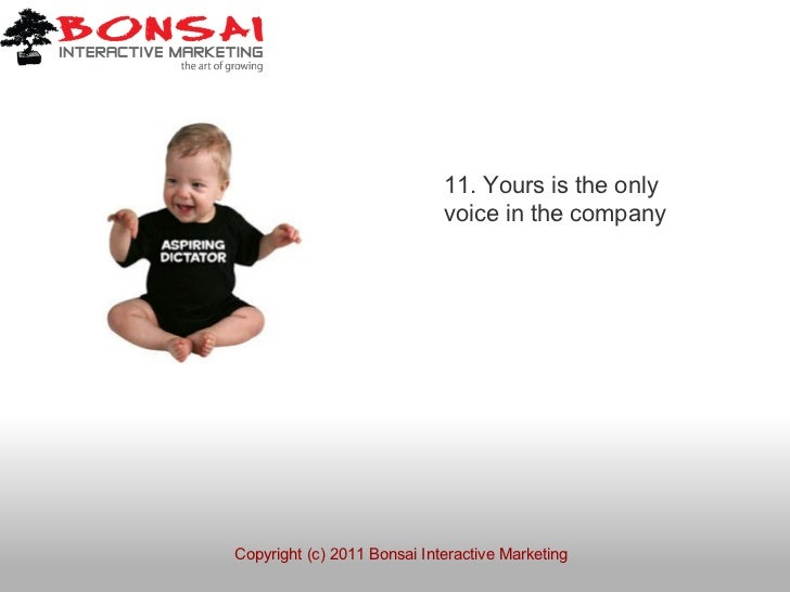 11. Yours is the only                             voice in the companyCopyright (c) 2011 Bonsai Interactive Marketing