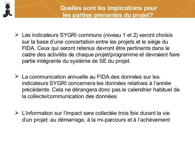 Quelles sont les implications pour les parties prenantes du projet?  Les indicateurs SYGRI communs (niveau 1 et 2) seront...