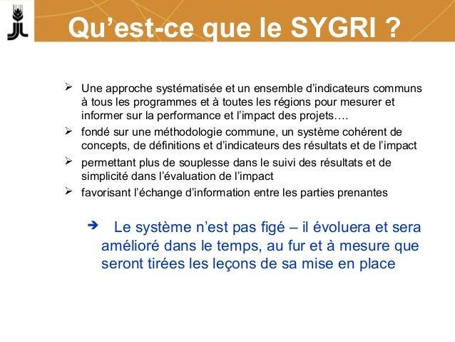 Qu'est-ce que le SYGRI ?  Une approche systématisée et un ensemble d'indicateurs communs à tous les programmes et à toute...