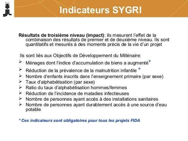 Indicateurs SYGRI Résultats de troisième niveau (impact): ils mesurent l'effet de la combinaison des résultats de premier ...
