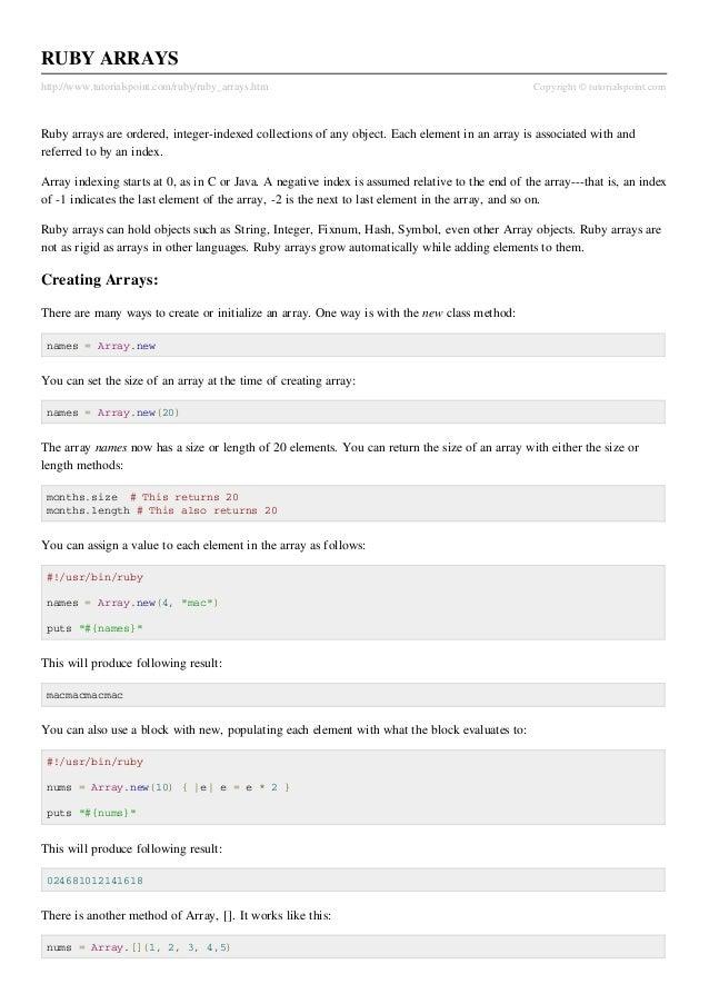 RUBY ARRAYShttp://www.tutorialspoint.com/ruby/ruby_arrays.htm                                                Copyright © t...