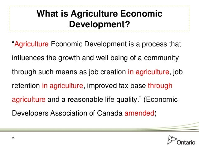 Agriculture as an Economic Development Opportunity - Municipal Ag Ec …