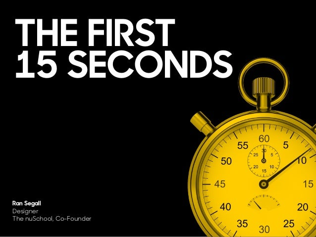 THE FIRST 15 SECONDS Ran Segall Designer The nuSchool, Co-Founder