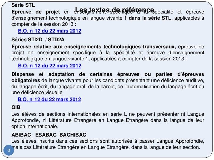 Série STL                               Les textes de référence    Epreuve de projet en enseignement spécifique à la spéci...