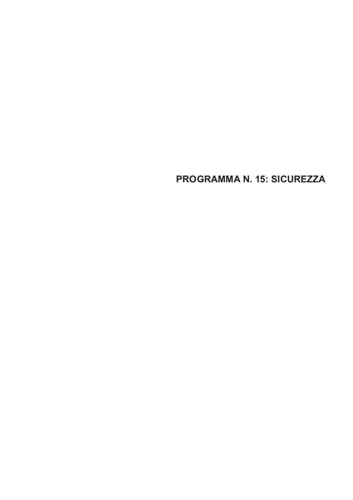 PROGRAMMA N. 15: SICUREZZA