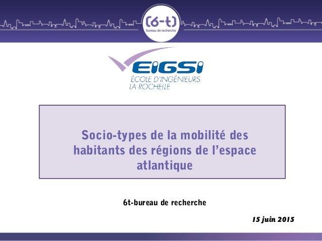 Socio-types de la mobilité des habitants des régions de l'espace atlantique 6t-bureau de recherche 15 juin 2015