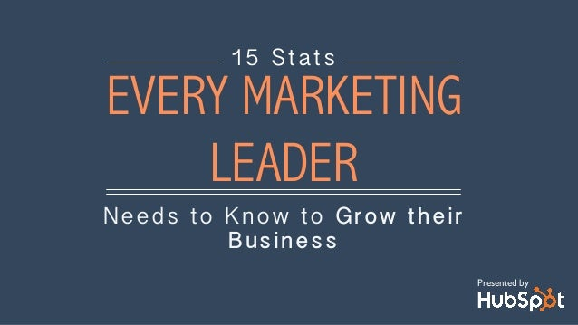 Needs to Know to Grow their Business 15 Stats EVERY MARKETING LEADER Presented by