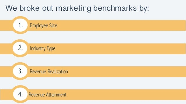We broke out marketing benchmarks by: 1. Employee Size 2. Industry Type 3. Revenue Realization 4. Revenue Attainment