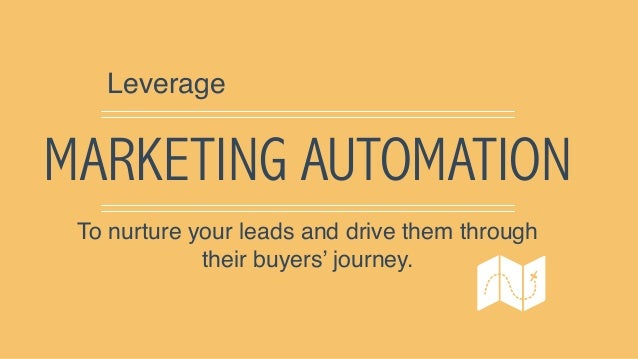 MARKETING AUTOMATION Leverage To nurture your leads and drive them through their buyers' journey.
