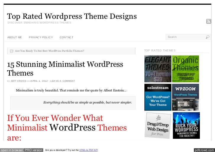 Top Rated Wordpress Theme Designs    D ISC OVER SMASH IN G WOR D PR ESS TH EMES    ABOU T ME       PR IVAC Y POL IC Y     ...