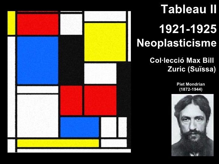 Tableau II     1921-1925 Neoplasticisme   Col·lecció Max Bill         Zuric (Suïssa)           Piet Mondrian            (1...