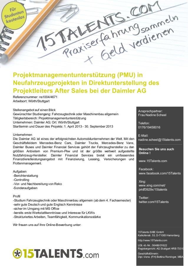 Referenznummer: ns1004/4671Arbeitsort: Wörth/StuttgartStellenangebot auf einen BlickGewünschter Studiengang: Fahrzeugtechn...