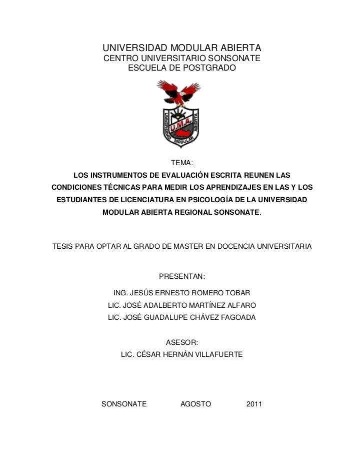 UNIVERSIDAD MODULAR ABIERTA            CENTRO UNIVERSITARIO SONSONATE                ESCUELA DE POSTGRADO                 ...