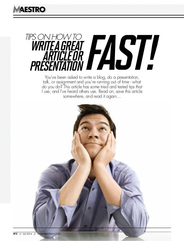AESTROAESTRO You've been asked to write a blog, do a presentation, talk, or assignment and you're running out of time - wh...