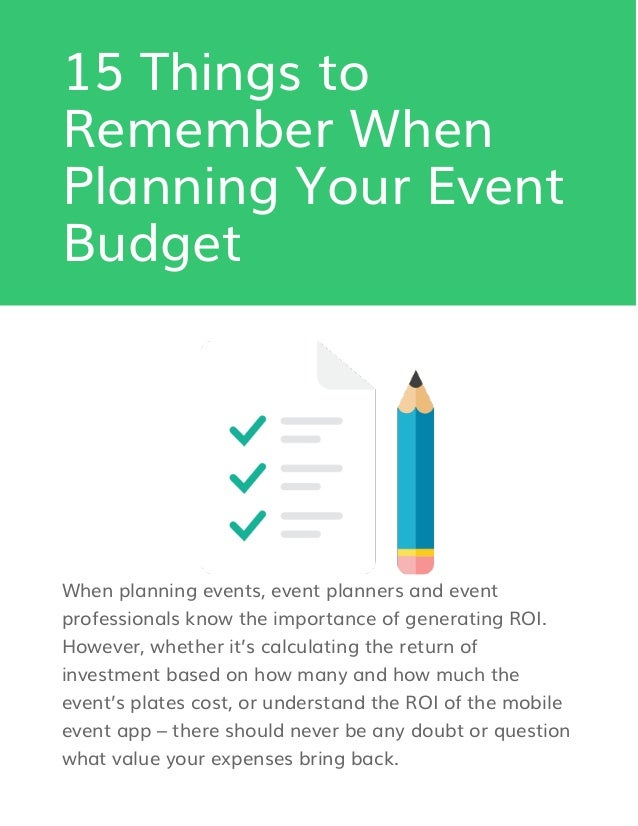 15 things to remember when planning your event budget